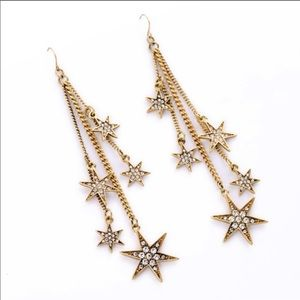 Antique Gold  Crystal Star Earring